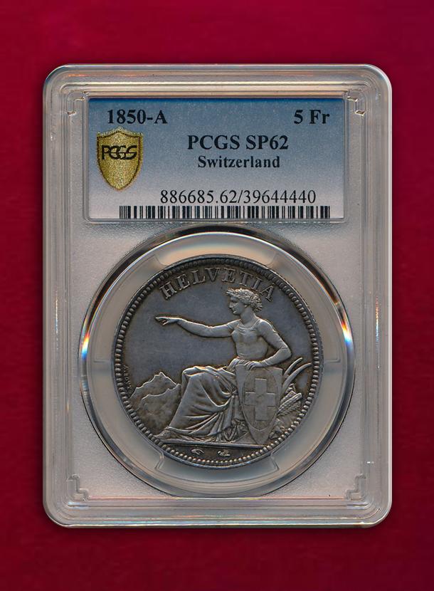 【スイス 】5 Francs  1850-A  女神座像