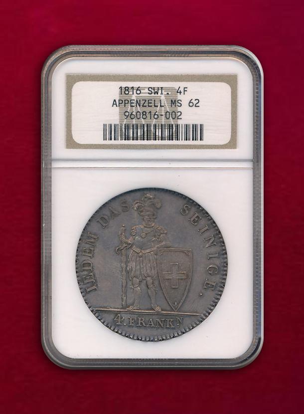 【スイス・アッペンツェル】4 Franken 1816