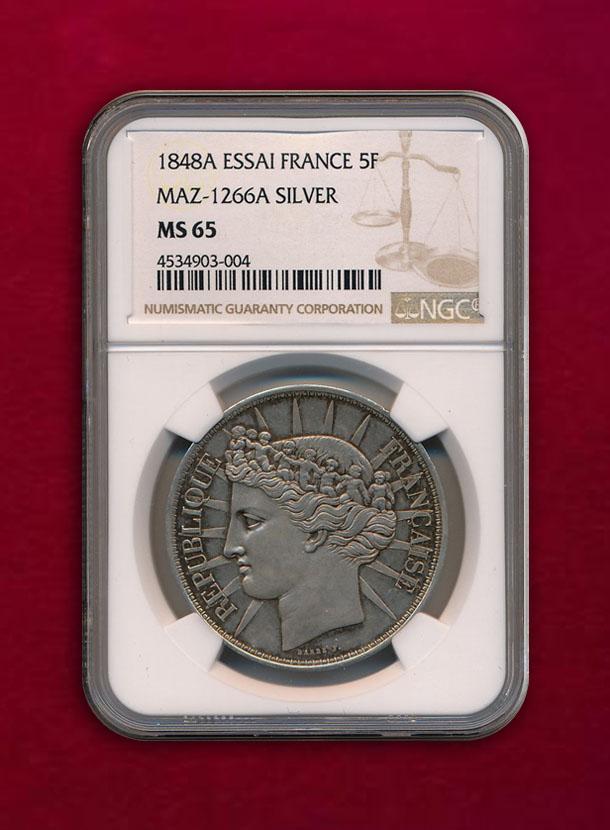 【フランス】Essai 5 Francs 1848-A