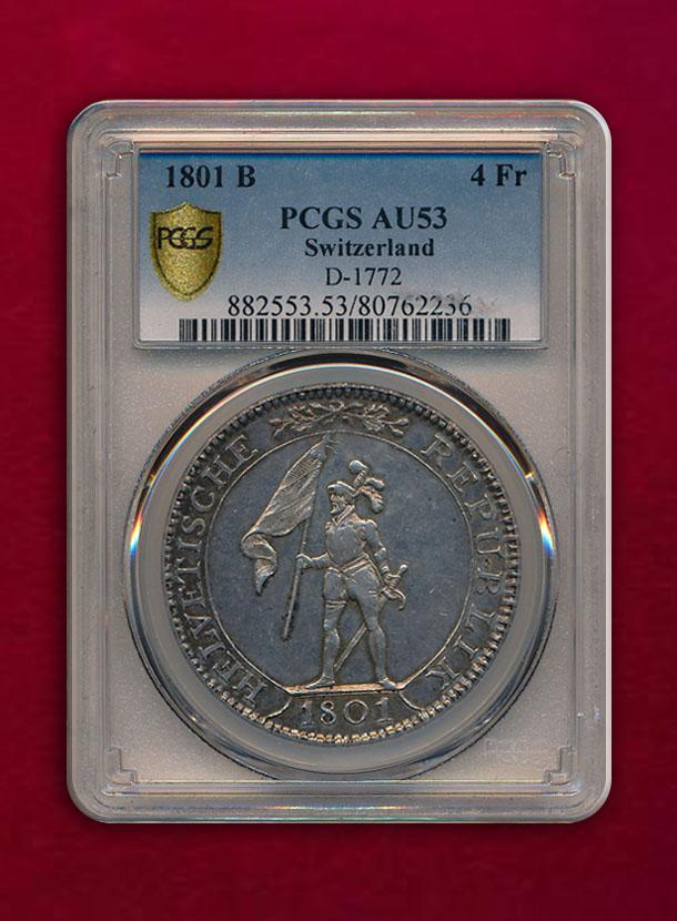 【スイス・ヘルベチア共和国】4 Franken 1801-B
