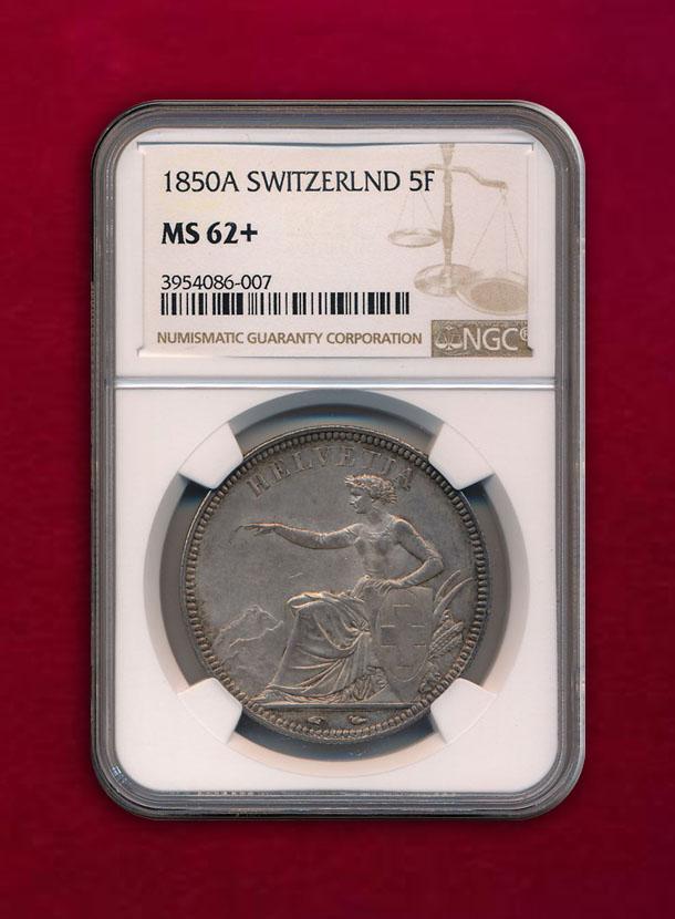 【スイス】5 Francs 1850-A