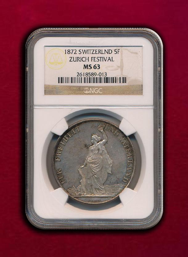 【スイス・チューリヒ】5 Francs 1872 射撃祭