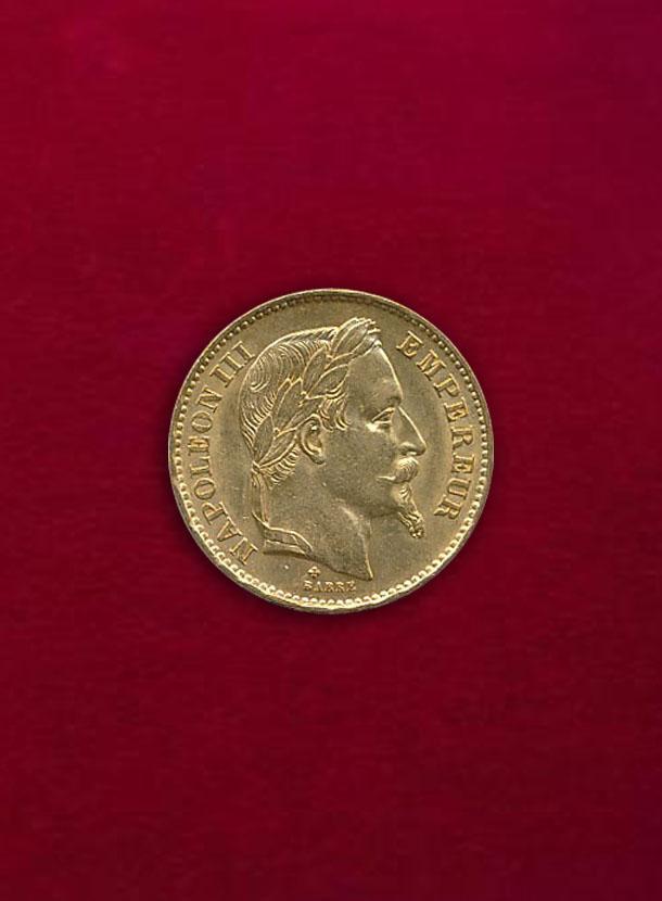 【フランス】20 Francs 1869-A ナポレオン3世 月桂冠
