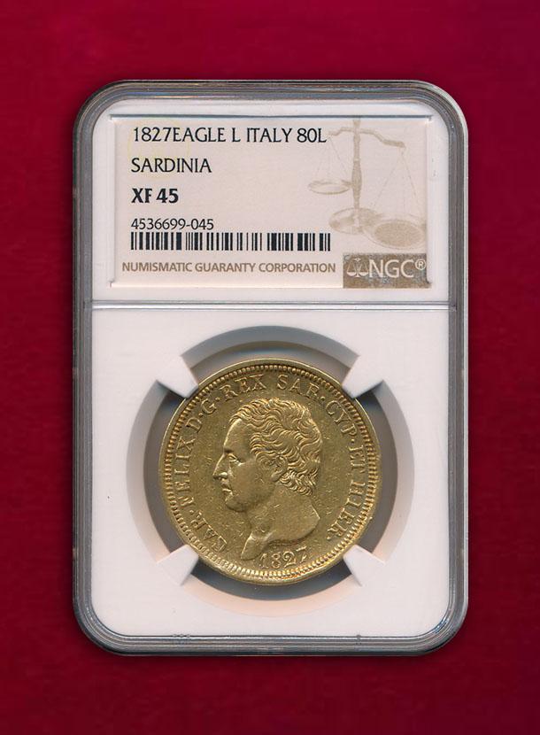 【 イタリア・サルディニア 】80 Lire 1827