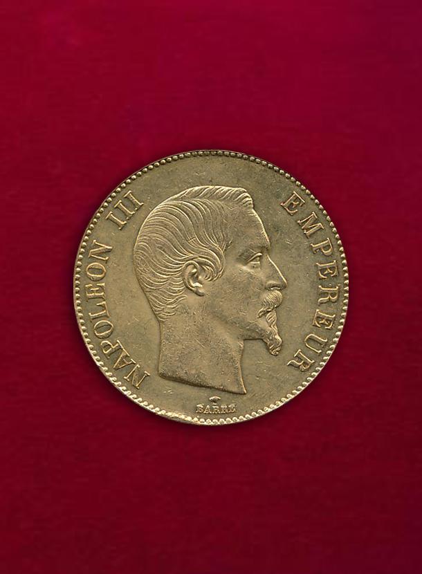 【 フランス 】 100 Francs 1858-A ナポレオン3世 無冠 パリ